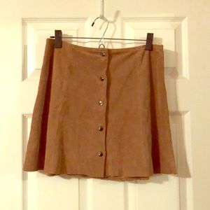 Suede A-Line Mini Skirt